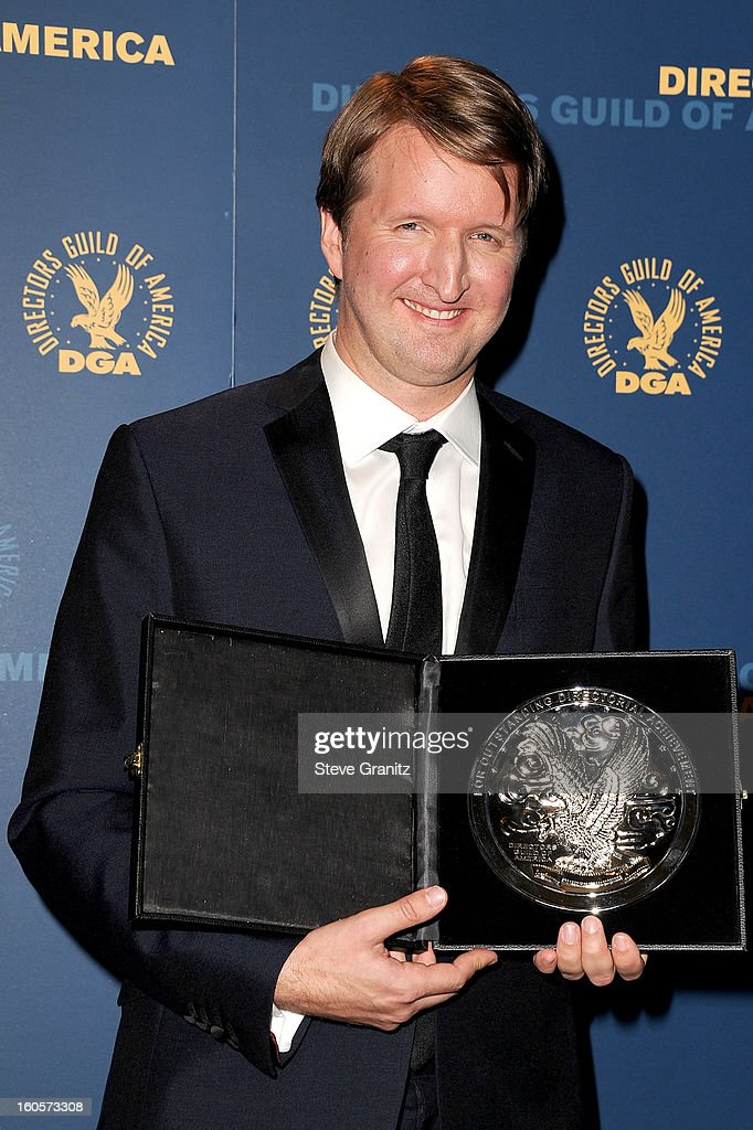 "Director Tom Hooper, recipient of the Feature Film Nomination Plaque for ""Les Miserables,' poses in the press room during the 65th Annual Directors Guild Of America Awards at Ray Dolby Ballroom at Hollywood & Highland on February 2, 2013 in Los Angeles, California."