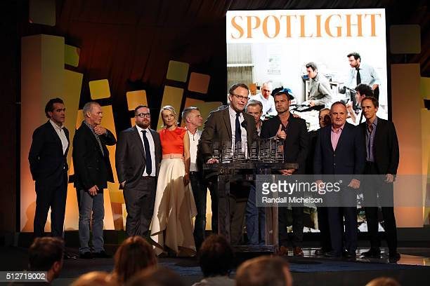 Director Tom McCarthy actors Rachel McAdams and Liev Schreiber accept the Robert Altman Award for 'Spotlight' onstage during the 2016 Film...