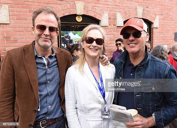 Director Tom McCarthy actress Meryl Streep and actor Michael Keaton attend the 2015 Telluride Film Festival on September 5 2015 in Telluride Colorado