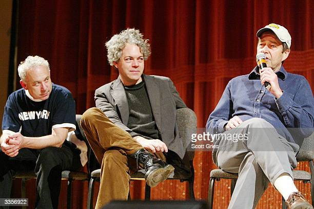 Director Tom Schiller director Michael Al meryda and producer Bob Grenub during a talk with film critic Elvis Mitchell following the simultaneous...