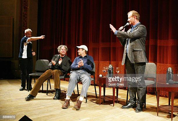 Director Tom Schiller director Michael Al meryda producer Bob Grenub and actor Bill Murray during a talk with film critic Elvis Mitchell following...