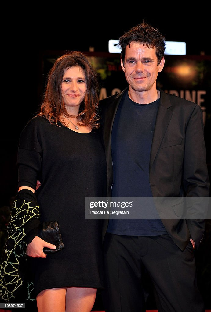 Director Tom Tykwer and Marie Steinmann attend the 'Drei' premiere during the 67th Venice Film Festival at the Sala Grande Palazzo Del Cinema on...