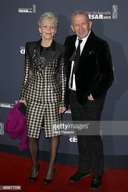 Director Tonie Marshall and Designer JeanPaul Gaultier attend the 'CESARS' Film awards at Theatre du Chatelet on February 20 2015 in Paris France