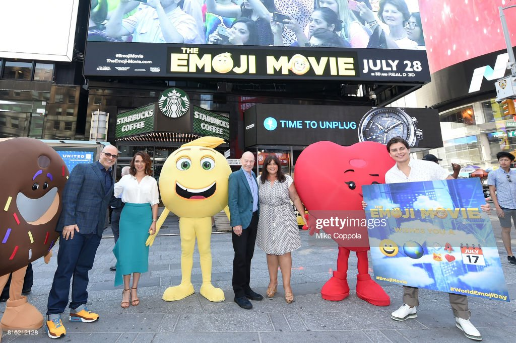 Director Tony Leondis, Actors Maya Rudolph, Patrick Stewart, Producer Michelle Raimo Kouyate and Actor Jake T. Austin of The Emoji Movie Celebrates World Emoji Day On Good Morning America on July 17, 2017 in New York City.