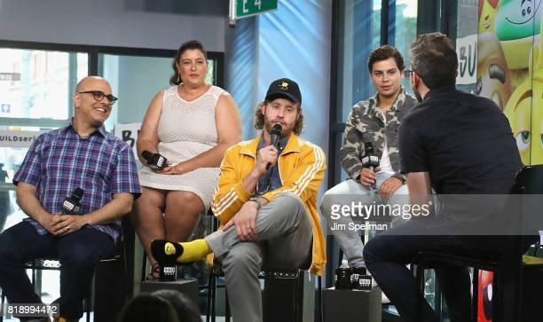 Director Tony Leondis producer Michelle Raimo Kouyate actors Jake T Austin TJ Miller and host Matt Forte attend Build to discuss their new movie 'The...