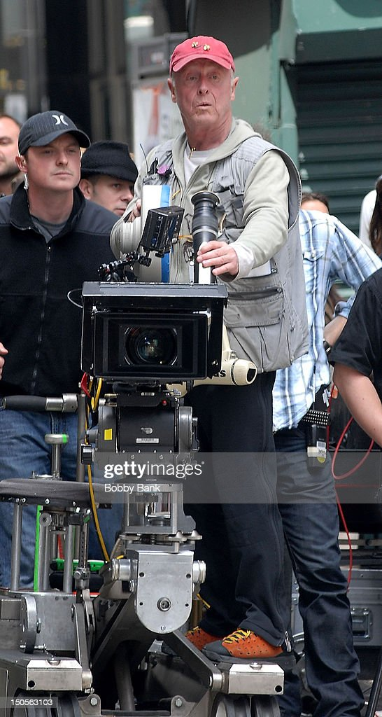 Director Tony Scott on location for the movie 'Taking of Pelham 123' filming in the streets of New York City on May 3 2008 in New York City