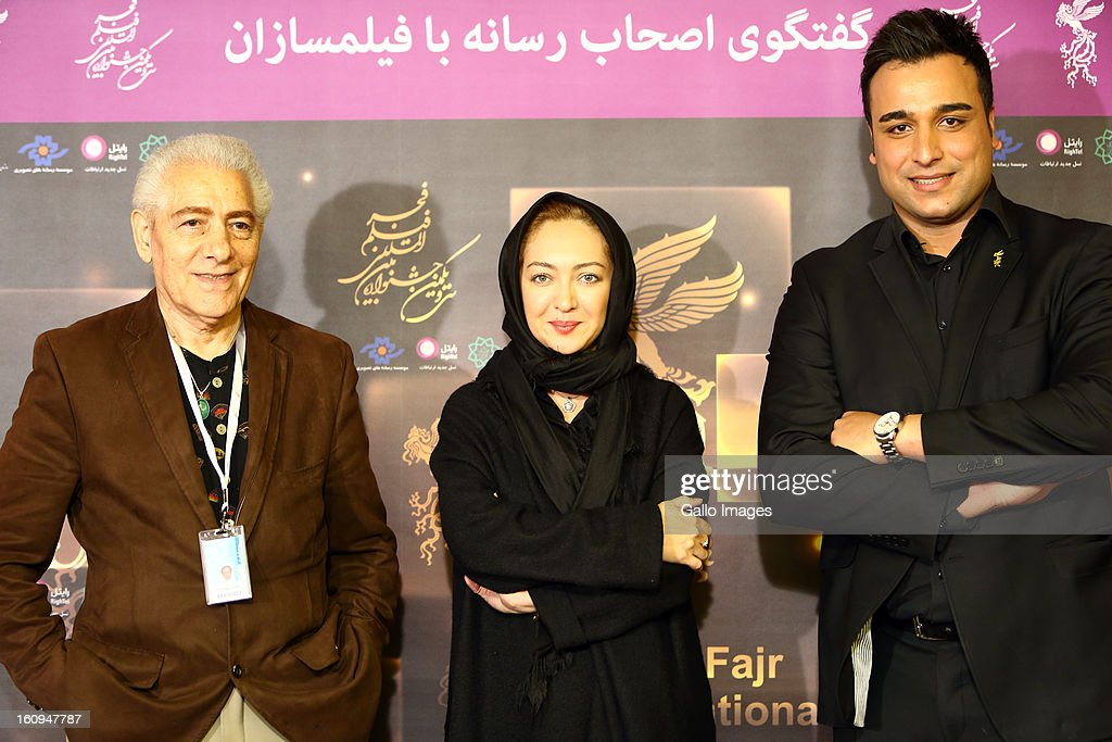 Director Tony Zarindast, Actress Niki Karimi and Olympic silver Medalist Ehsan Hadadi at Day 8 of the 31th International Fajr Film Festival on February 7, 2013 in Tehran, Iran. Organized by the Ministry of Culture and Islamic Guidance, the Film Festival is the most important film event in the country.