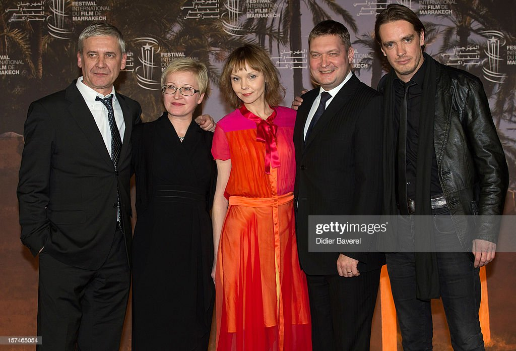 Director Toomas Hussar, producer Piret Tibbo Hudgins, actress Elina Reinold, actors Raivo E.Tamm and Juhan Ulfsak pose during a photocall of the movie ' Mushrooming' at the 12th International Marrakech Film Festival on December 3, 2012 in Marrakech, Morocco.