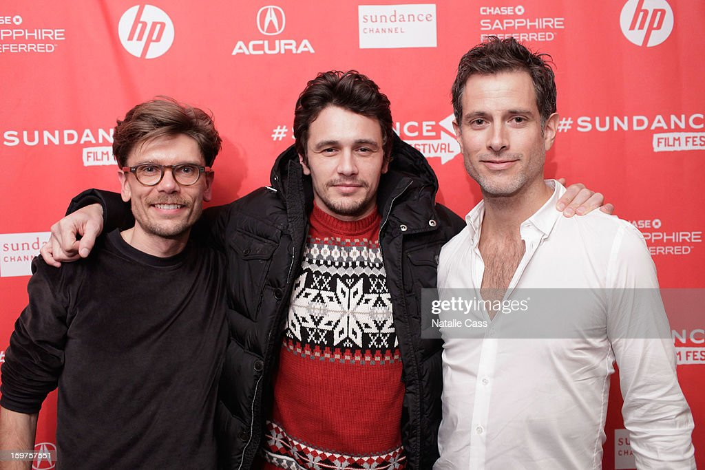 Director Travis Mathews, actor/director <a gi-track='captionPersonalityLinkClicked' href=/galleries/search?phrase=James+Franco&family=editorial&specificpeople=577480 ng-click='$event.stopPropagation()'>James Franco</a> and actor Christian Patrick attend 'Interior. Leather Bar' Premiere during the 2013 Sundance Film Festival at Prospector Square on January 19, 2013 in Park City, Utah.