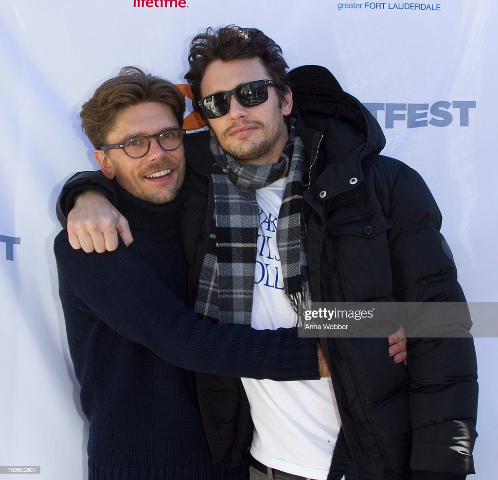 Director Travis Matthews and actor <a gi-track='captionPersonalityLinkClicked' href=/galleries/search?phrase=James+Franco&family=editorial&specificpeople=577480 ng-click='$event.stopPropagation()'>James Franco</a> arrive to Outfest Queer Brunch - 2013 Park City on January 20, 2013 in Park City, Utah.