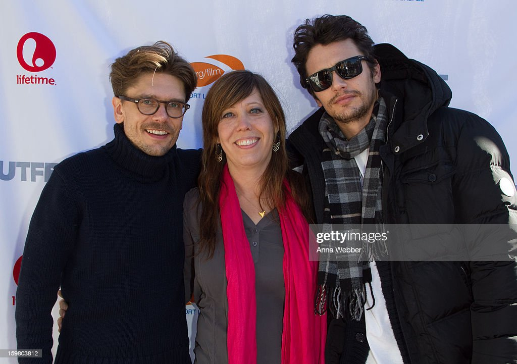 Director Travis Matthews, Executive Director Kristen Schaffer and Actor <a gi-track='captionPersonalityLinkClicked' href=/galleries/search?phrase=James+Franco&family=editorial&specificpeople=577480 ng-click='$event.stopPropagation()'>James Franco</a> arrive to Outfest Queer Brunch - 2013 Park City on January 20, 2013 in Park City, Utah.