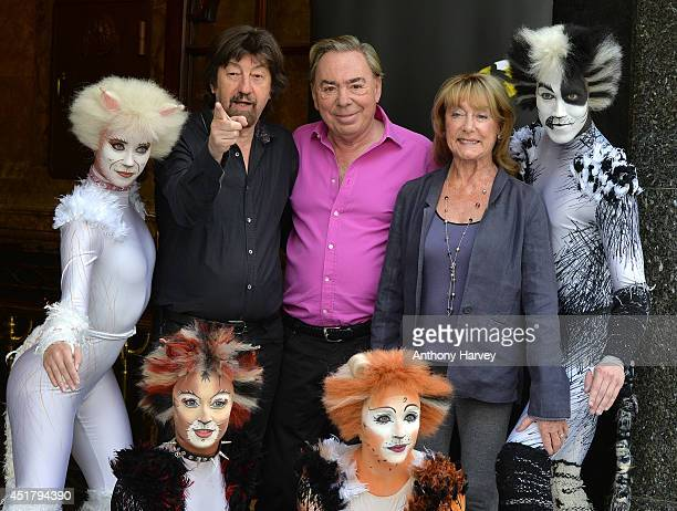 Director Trevor Nunn Composer Andrew Lloyd Webber and Choreographer Gillian Lynne with cast members pose during a photocall for 'Cats' at London...