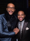 Director Tyler Perry and actor Anthony Anderson attend the 45th NAACP Image Awards presented by TV One at Pasadena Civic Auditorium on February 22...