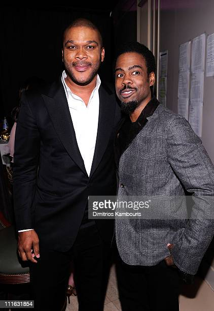 Director Tyler Perry and comedian Chris Rock attend the 2nd annual Steve Harvey Foundation Gala at Cipriani Wall Street on April 4 2011 in New York...