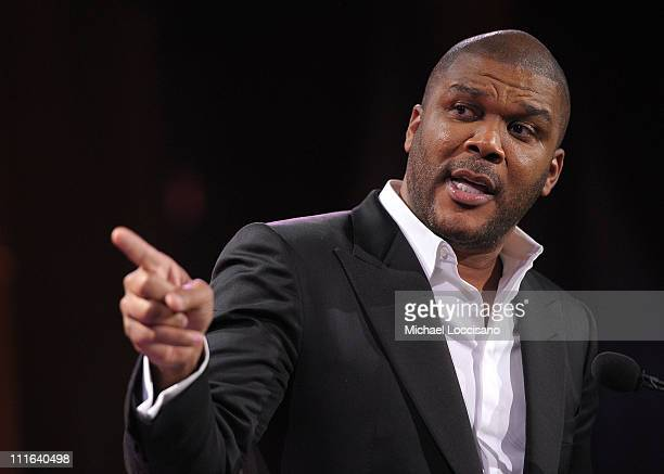 Director Tyler Perry speaks onstage at the 2nd annual Steve Harvey Foundation Gala at Cipriani Wall Street on April 4 2011 in New York City