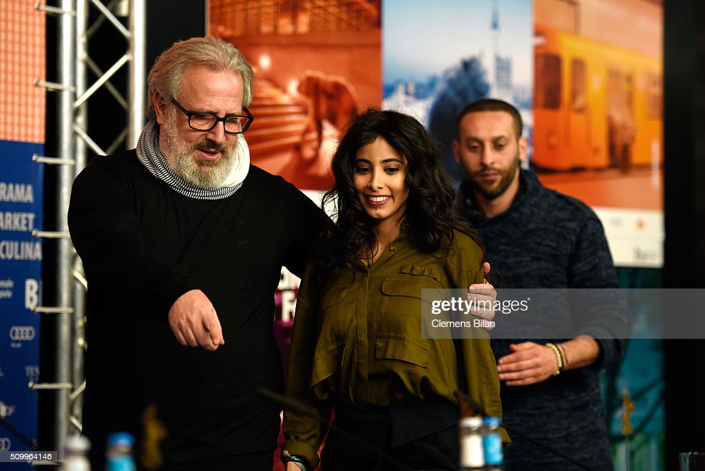 Director Udi Aloni, actress Samar Qupty and Co-author Tamer Nafar attend the 'Junction 48' press conference during the 66th Berlinale International Film Festival Berlin at Grand Hyatt Hotel on February 13, 2016 in Berlin, Germany.