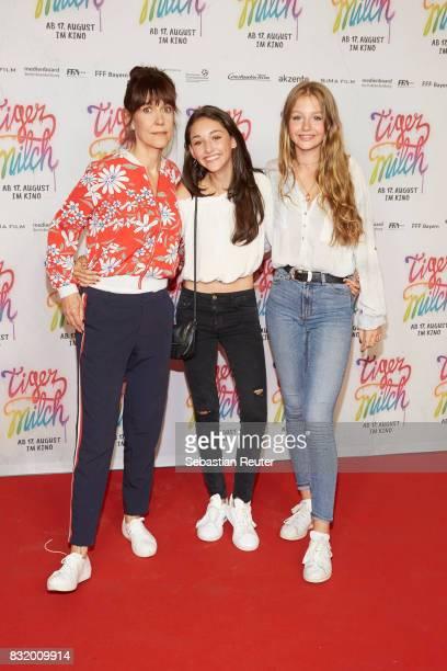 Director Ute Wieland actors Emily Kusche and Flora Li Thiemann attend the 'Tigermilch' premiere at Kino in der Kulturbrauerei on August 15 2017 in...