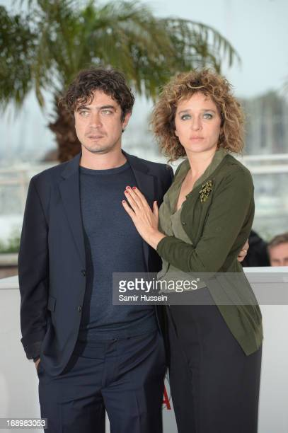 Director Valeria Golino and Producer Ricardo Scamarcio attend the 'Miele' Photocall during The 66th Annual Cannes Film Festival at the Palais des...
