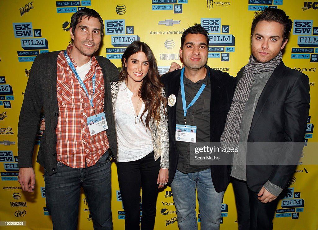 Director Victor Teran, actress <a gi-track='captionPersonalityLinkClicked' href=/galleries/search?phrase=Nikki+Reed&family=editorial&specificpeople=220844 ng-click='$event.stopPropagation()'>Nikki Reed</a>, director Youssef Delara and actor Thomas Dekker pose in the greenroom at the screening of 'Snap' during the 2013 SXSW Music, Film + Interactive Festival at Alamo Ritz on March 11, 2013 in Austin, Texas.