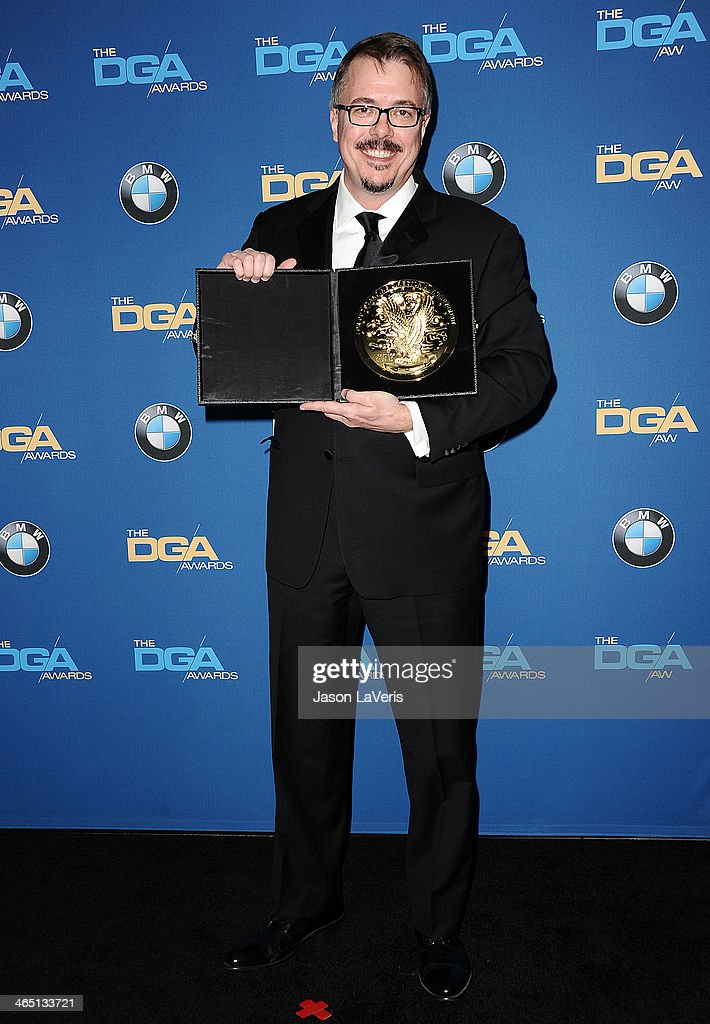 Director Vince Gilligan poses in the press room at the 66th annual Directors Guild of America Awards at the Hyatt Regency Century Plaza on January 25...