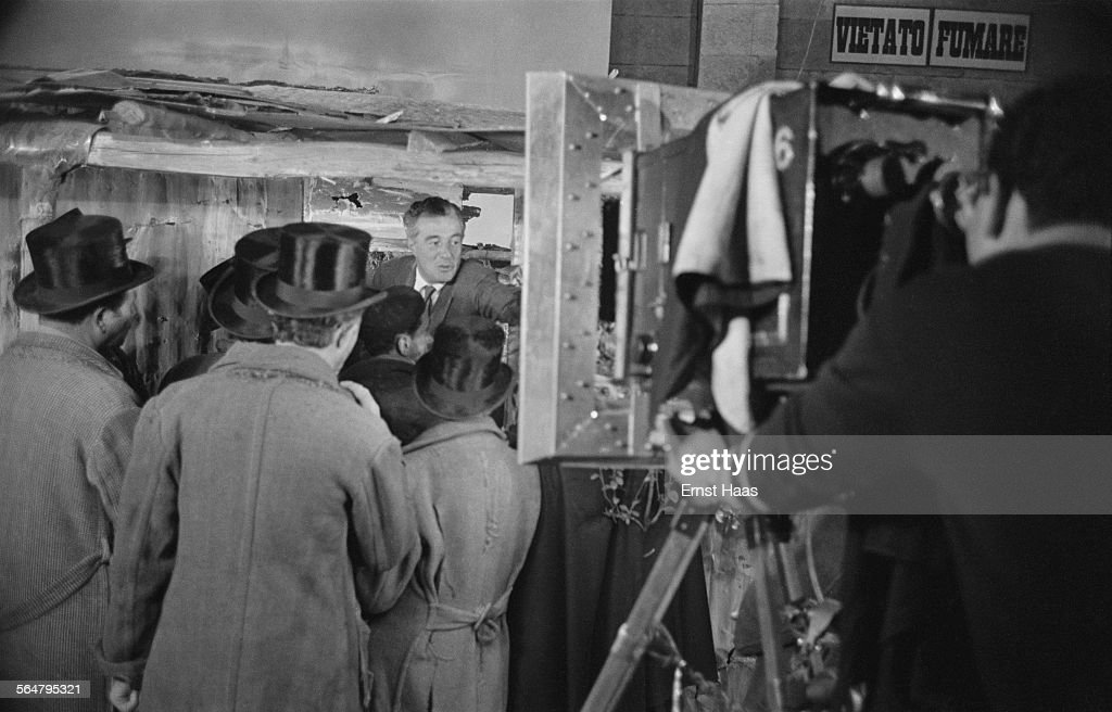 Director Vittorio De Sica (1901 - 1974) on the set of the film 'Miracolo a Milano' ('Miracle in Milan') in Italy, 1951.