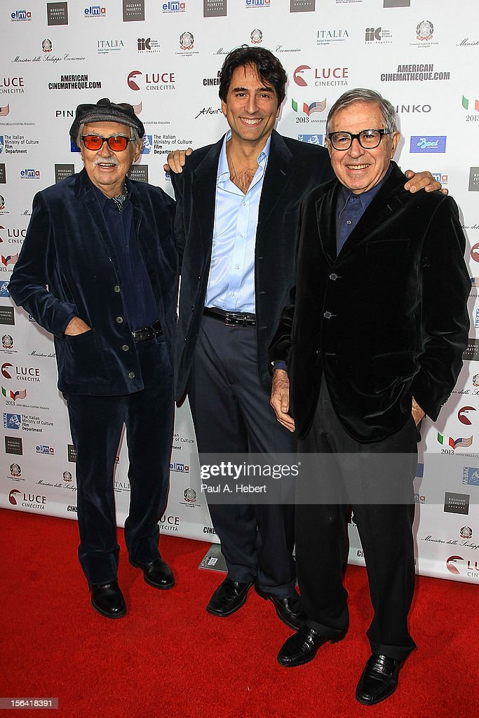 Director <a gi-track='captionPersonalityLinkClicked' href=/galleries/search?phrase=Vittorio+Taviani&family=editorial&specificpeople=1698299 ng-click='$event.stopPropagation()'>Vittorio Taviani</a>, actor Vincent Spano, and director <a gi-track='captionPersonalityLinkClicked' href=/galleries/search?phrase=Paolo+Taviani&family=editorial&specificpeople=1698302 ng-click='$event.stopPropagation()'>Paolo Taviani</a> arrives to the 2012 Cinema Italian Style Opening Night Gala Screening Of 'Caesar Must Die' at the Egyptian Theatre on November 14, 2012 in Hollywood, California.