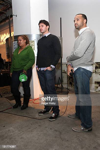 Director Vlad Yudin Liza Rios widow of Big Pun and producer Edwin Mejia attend a screening of 'Big Pun The Legacy' in the Magic Johnson Theatre at...