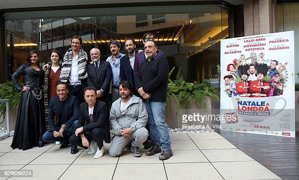 Director Volfango De Biasi poses with cast during a photocall for 'Natale A Londra Dio Salvi La Regina' at Visconti Palace on December 14 2016 in...