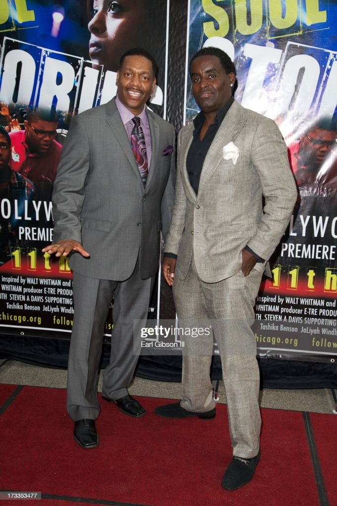 Director Walt Whitman and comedian G-Thang attend the premiere of 'Soul Children Of Chicago' at Historic American Legion - Post 43 on July 11, 2013 in Los Angeles, California.