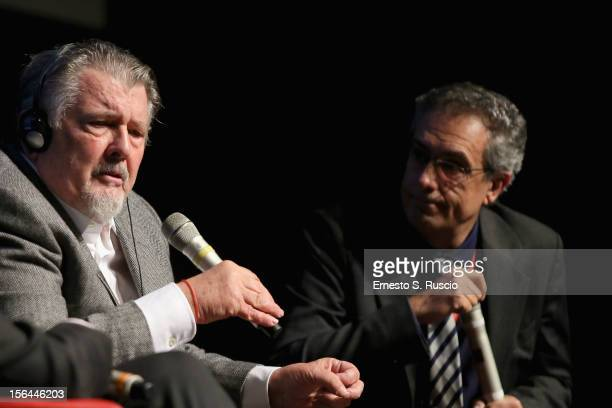 Director Walter Hill speaks on stage at a Meets The Audience session with Mario Sesti during the 7th Rome Film Festival at the Auditorium Parco Della...