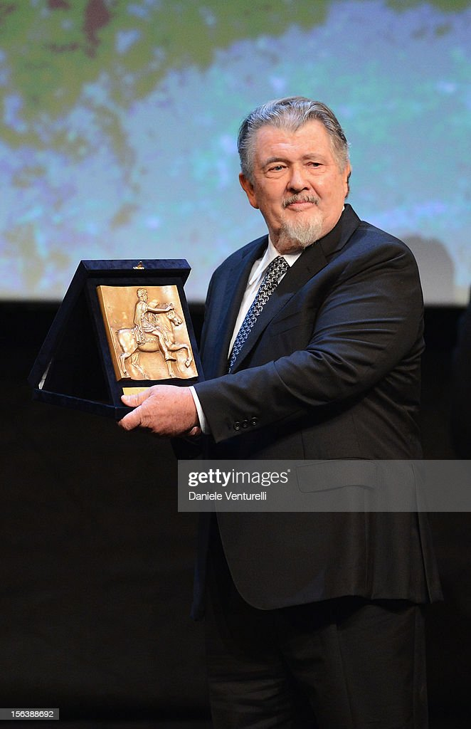 Director <a gi-track='captionPersonalityLinkClicked' href=/galleries/search?phrase=Walter+Hill&family=editorial&specificpeople=552666 ng-click='$event.stopPropagation()'>Walter Hill</a> with his Maverick Award onstage ahead of the 'Bullets To The Head' Premiere during the 7th Rome Film Festival at the Auditorium Parco Della Musica on November 14, 2012 in Rome, Italy.