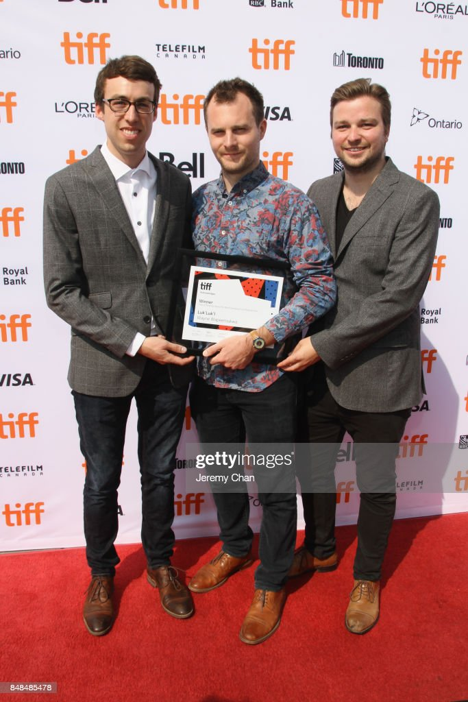 Director Wayne Wapeemukwa (C) poses after being awarded The City of Toronto Award for Best Canadian First Feature Film for 'Luk'Luk'I' at the 2017 TIFF Awards Ceremony at TIFF Bell Lightbox on September 17, 2017 in Toronto, Canada.