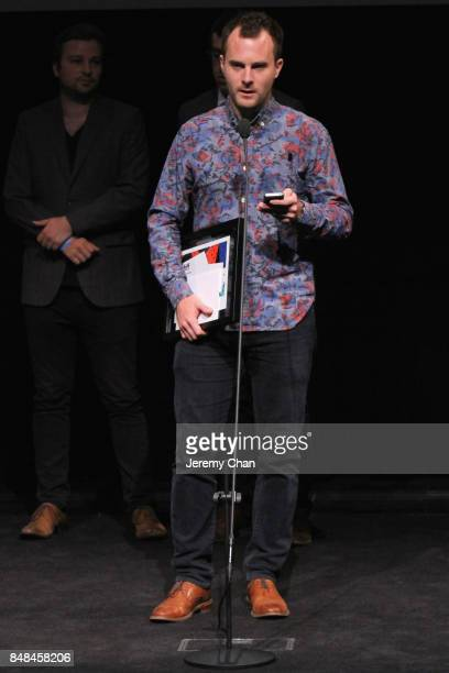 Director Wayne Wapeemukwa speaks on stage after being awarded The City of Toronto Award for Best Canadian First Feature Film for 'Luk'Luk'I' at the...
