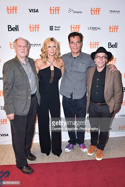 Director Werner Herzog actress Veronica Ferres actor Michael Shannon and actor Lawrence Krauss attend the 'Salt and Fire' premeire during the 2016...