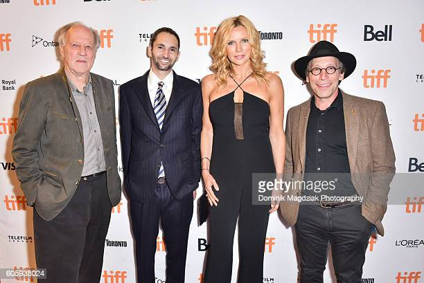 Director Werner Herzog producer Michael Benaroya actress Veronica Ferres and actor Lawrence Krauss attend the 'Salt and Fire' premeire during the...