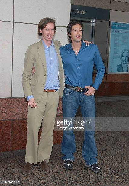 Director Wes Anderson and Actor Adrien Brody arrives at the New York Film Festival press conference for 'The Darjeeling Limited' September 27 2007 at...