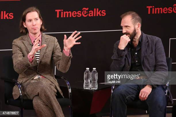 Director Wes Anderson and actor Ralph Fiennes attend TimesTalk Presents An Evening With Wes Anderson And Ralph Fiennes at The Times Center on...