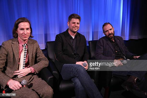 Director Wes Anderson production designer Adam Stockhausen and actor Ralph Fiennes attend a panel discussion at an official Academy members screening...