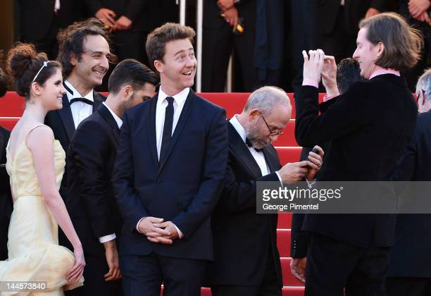 Director Wes Anderson takes a picture of actors Edward Norton as they attend the Opening Ceremony and 'Moonrise Kingdom' Premiere during the 65th...