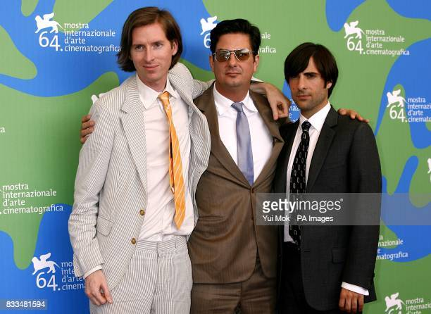 Director Wes Anderson writer Roman Coppola and actor Jason Schwartzman during a photocall for the film 'The Darjeeling Limited' at the Venice Film...