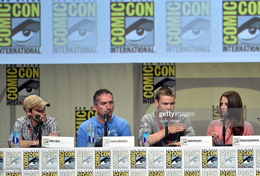 Director Wes Ball, author James Dashner, actors Will Poulter and Kaya Scodelario attend the 20th Century Fox presentation during Comic-Con International 2014 at San Diego Convention Center on July 25, 2014 in San Diego, California.