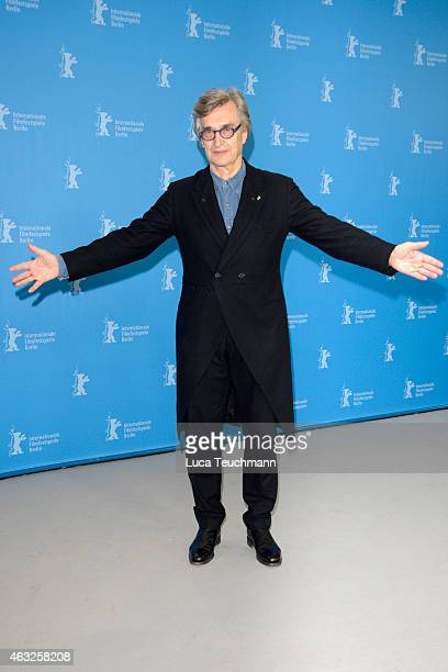 Director Wim Wenders poses at the 'Honorary Golden Bear' photocall during the 65th Berlinale International Film Festival at Grand Hyatt Hotel on...