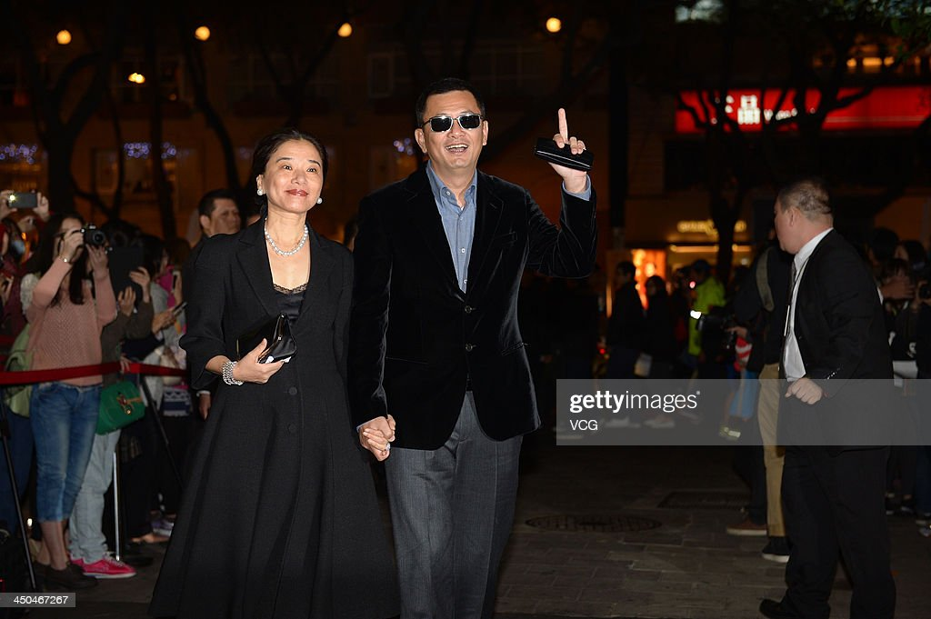 Director Wong Kar-wai and his wife Esther attend Chang Chen's wedding ceremony on November 18, 2013 in Taipei, Taiwan.
