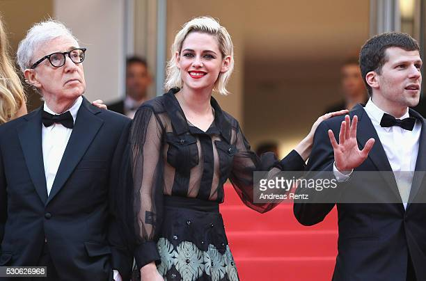 Director Woody Allen actress Kristen Stewart and actorJesse Eisenberg attend the 'Cafe Society' premiere and the Opening Night Gala during the 69th...