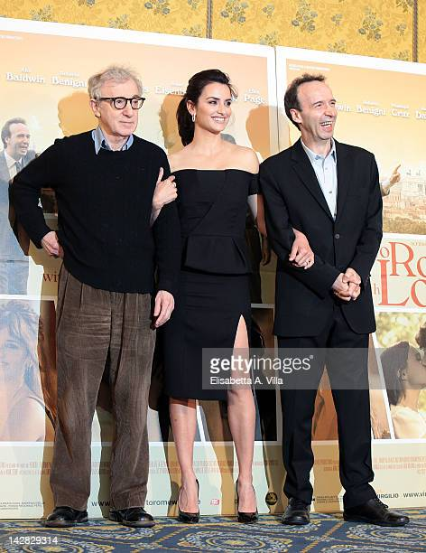 Director Woody Allen and actors Penelope Cruz and Roberto Benigni attend 'To Rome With Love' photocall at Hotel Parco dei Principi on April 13 2012...