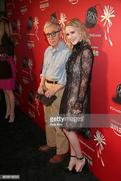 Director Woody Allen and actress Rachel Brosnahan attend the world premiere of 'Crisis in Six Scenes' at the Crosby Street Hotel on September 15 2016...
