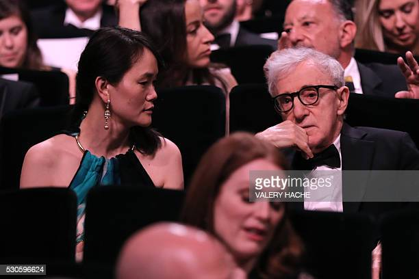 US director Woody Allen and his partner SoonYi Previn attend on May 11 2016 the opening ceremony of the 69th Cannes Film Festival southern France...