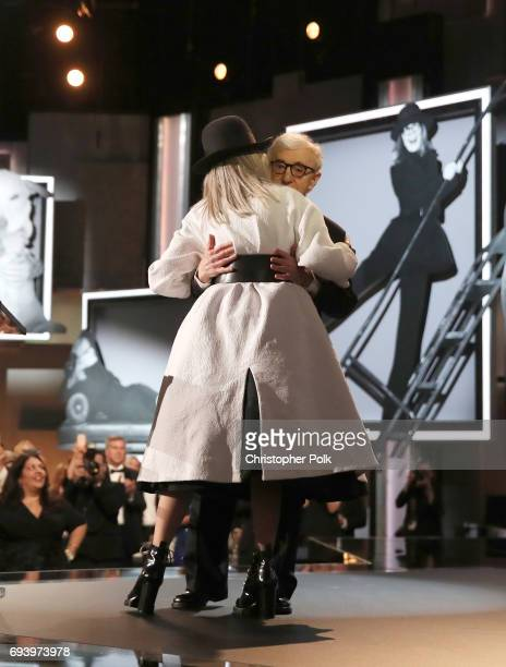 Director Woody Allen and honoree Diane Keaton speak onstage during American Film Institute's 45th Life Achievement Award Gala Tribute to Diane Keaton...