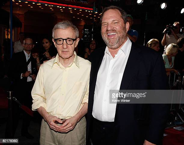 Director Woody Allen and producer Harvey Weinstein arrive on the red carpet at the Los Angeles Premiere of 'Vicky Cristina Barcelona' at the Mann...