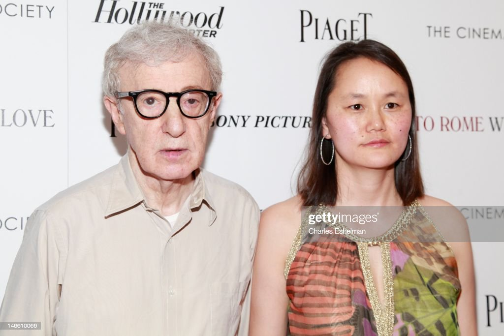 Director Woody Allen and wife Soon-Yi Previn attend The Cinema Society with the Hollywood Reporter & Piaget and Disaronno screening of 'To Rome With Love' at The Paris Theatre on June 20, 2012 in New York City.